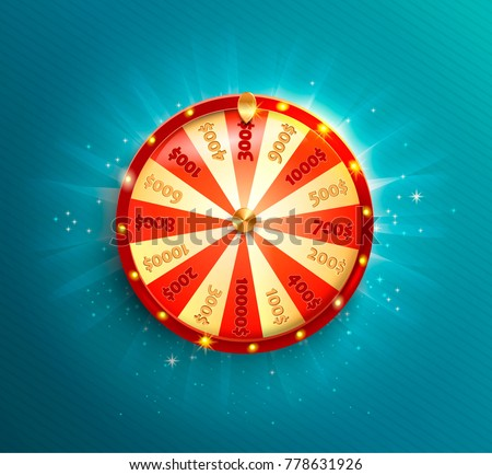 Symbol of spinning fortune wheel in realistic style. Shiny lucky roulette for your design on blue glowing background. Vector illustration.