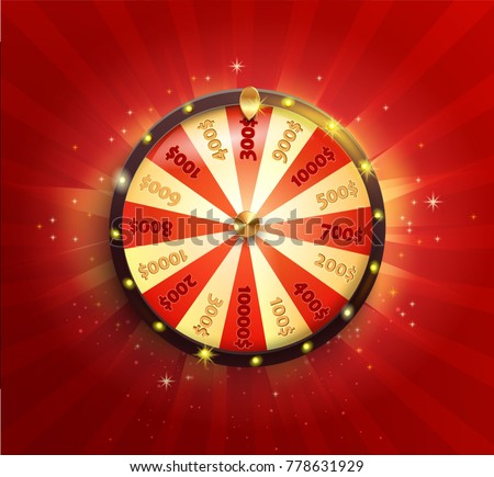 Symbol of spinning fortune wheel in realistic style. Shiny lucky roulette for your design on red sunburst  background. Vector illustration.