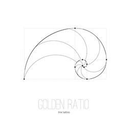 Symbol of the golden ratio tattoo black lines on the white isolated background