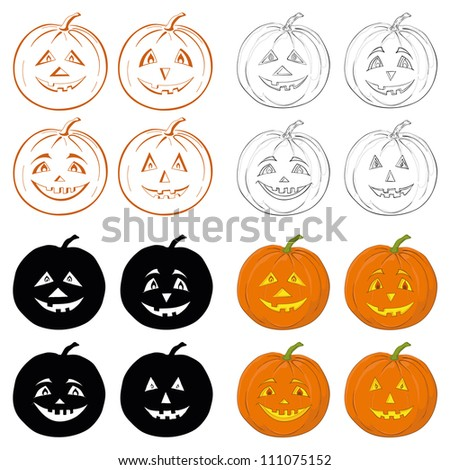 Symbol of the holiday Halloween pumpkins Jack O Lantern on white background, set: icons, shapes, silhouettes, cartoons. Vector