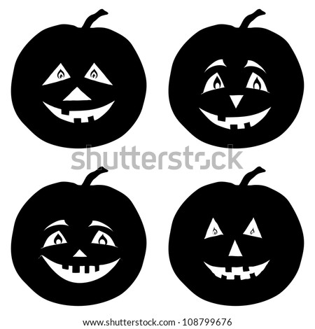 Symbol of the holiday Halloween pumpkins Jack O Lantern, set black silhouettes on white background. Vector illustration