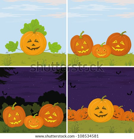 Symbol of the holiday of Halloween pumpkins Jack O Lantern, set illustration. Vector