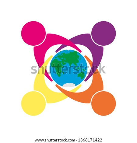Symbol of unity of different people, concern for the world and ecology, flat design
