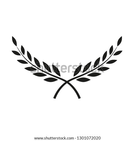 Symbol of victory, Branches of olives, laurel, wreath, awards, roman, victory, crown, winner, ornate flat silhouette object for design isolate on white background.