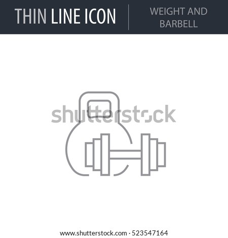 Symbol of Weight And Barbell Thin line Icon of Fitness And Sport. Stroke Pictogram Graphic for Web Design. Quality Outline Vector Symbol Concept. Premium Mono Linear Beautiful Plain Laconic Logo