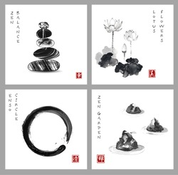 Symbol of zen. Zen balance, enso circle, lotus flower and stone garden on white background. Hieroglyph - zen, beauty, happiness, clarity. Traditional Japanese ink painting sumi-e.