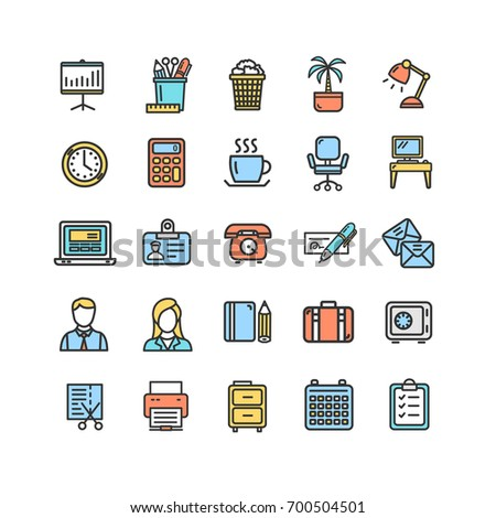 Symbol Office Work Color Thin Line Icon Set Include of Briefcase, Clock, Businessman, cup and Document. Vector illustration for Offices