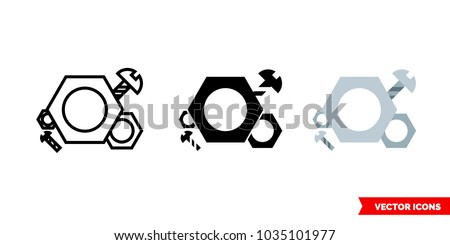 Symbol parts icon of 3 types: color, black and white, outline. Isolated vector sign symbol.