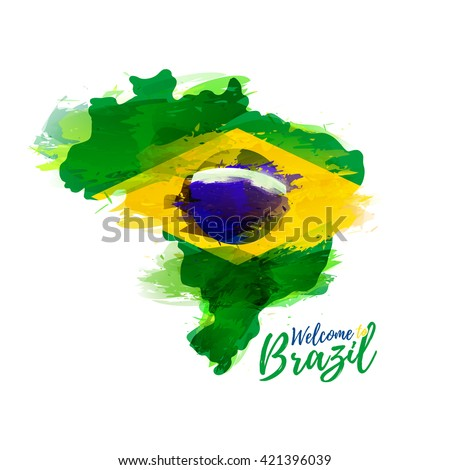 Symbol, poster, banner Brazil. Map of Brazil with the decoration of the national flag. Style watercolor drawing. Brazil map with national flag. Vector.