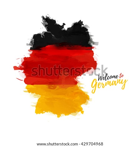 Symbol, poster, banner Germany. Map of Germany with the decoration of the national flag. Style watercolor drawing. Germany map with national flag. Vector.