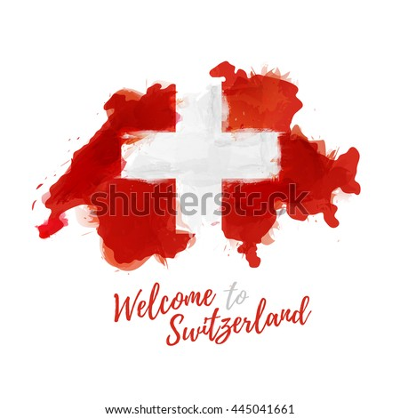Symbol, poster, banner Switzerland. Map of Switzerland with the decoration of the national flag. Watercolor style drawing. Vector.