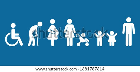 Symbol Priority Disable Passenger Elderly passenger Pregnant Old man Woman with infant child baby orthopedic wheelchair crutches mobility Human vector sign. Disabled toilet symbol. Priority seating . Foto stock ©