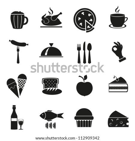 Symbol set of black color with food.Vector. EPS-10 (non transparent elements, non gradient)