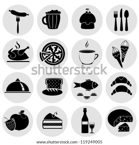 Symbol set with food of black color. Vector on a gray background. EPS-10 (non transparent elements, non gradient)