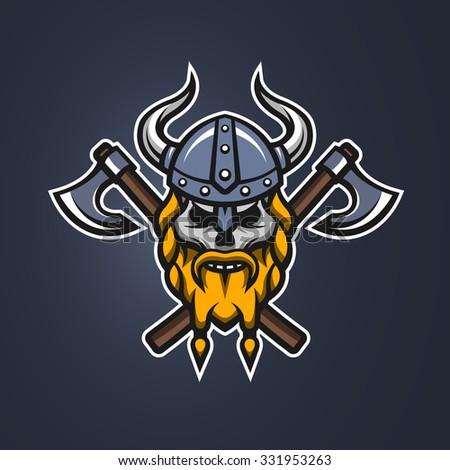 symbol skull viking warrior on