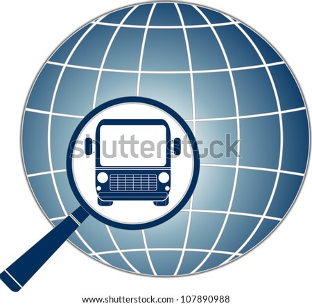 symbol travel with modern bus in magnifier and planet silhouette