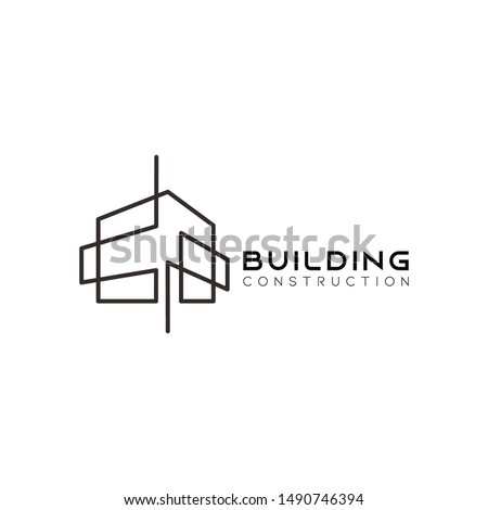 Symbol vector of building and property logo template with creative lineart icon. Real estate architeture design minimalist illustration for agency and company. Stockfoto ©