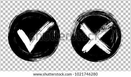 Symbolic approval icons, white tick and cross signs on black circles, checkmarks graphic design. Acceptance and rejection symbol vector buttons for vote, election choice on transparent background.