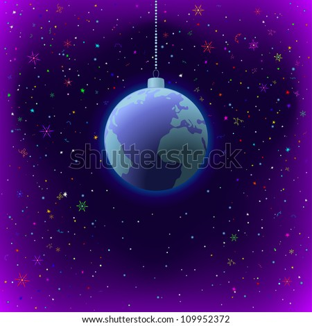 Symbolic background, planet Earth in space, as Christmas decoration. Vector
