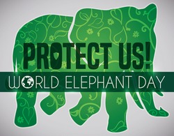 Symbolic green elephant silhouette with leaves, vines and flowers inside of it, promoting protection of these animals and environment during World Elephant Day celebration.
