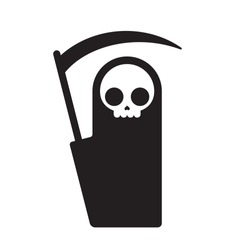 Symbolic Grim Reaper, simple flat cartoon death symbol. Isolated vector illustration.