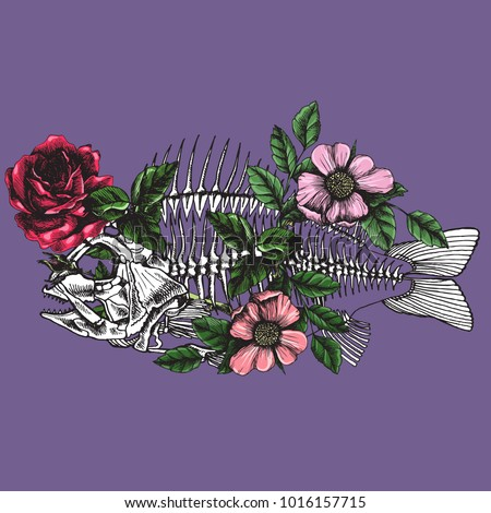 Symbolic illustration with blooming fish skeleton. Hand drawn vector element for your poetic design.