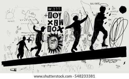 symbolic image of boys that run