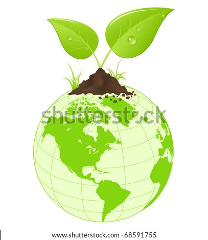 Symbolic image with green earth globe and leaves. Vector illustration.