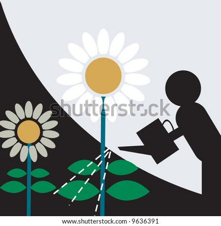 symbolic man pouring water for the plants