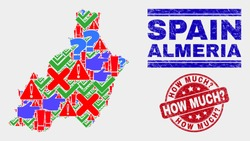 Symbolic Mosaic Almeria Province map and seal stamps. Red round How Much? scratched seal stamp. Colored Almeria Province map mosaic of different scattered symbols. Vector abstract composition.