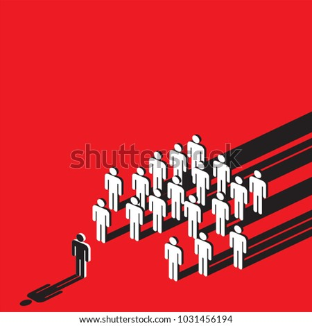 Shutterstock symbolic of social pressure with stick human on red background, creative vector illustration.