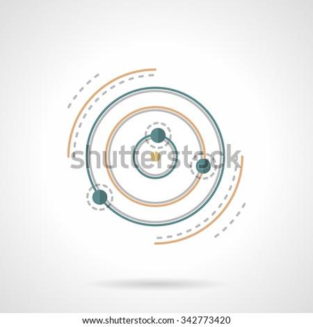 symbolic planet with satellites