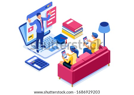 Symbolic studying, self learn symbol. Graphic design of elearning, distance studying for the exam sign. Vector illustration flat web banner. Teaching course, tutorial for elearning infographic concept Stock photo ©