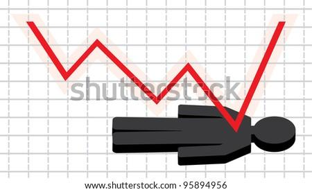 Symbolical image of financial crisis. vector