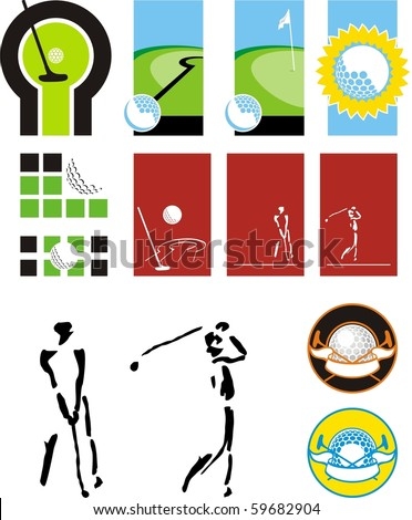Symbolical images of balls for a golf, sticks, players, paths for a minigolf