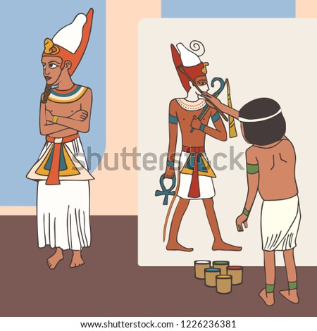 symbolism of ancient egyptian art, artist painting pharaoh portrait , funny cartoon historic illustration
