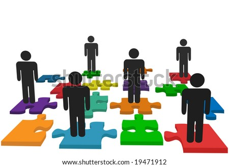 Symbolize human resources issues and other people issues and solutions with symbol people on jigsaw pieces, which actually form a puzzle.