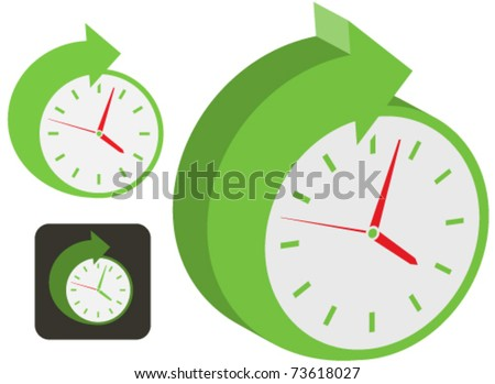 Symbols and icon depicting a green clock movement