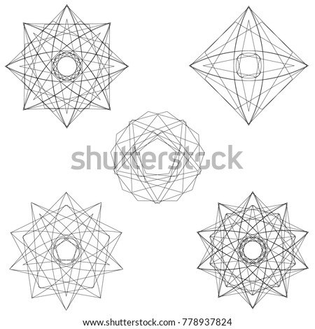 Symbols and symmetrical geometric pattern, fractal, pentagram, icon rune
