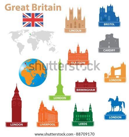 Symbols city to Great Britain. Vector illustration for you design
