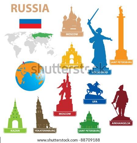 symbols city to russia vector