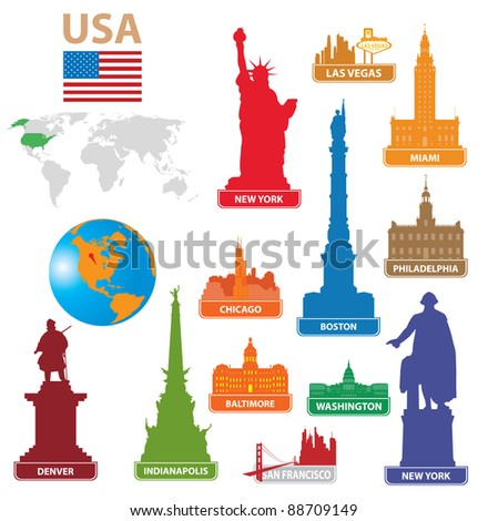 Symbols city USA. Vector illustration for you design