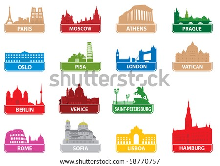 Symbols european city. - stock vector