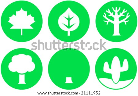 Symbols for icons or signs, shows plants