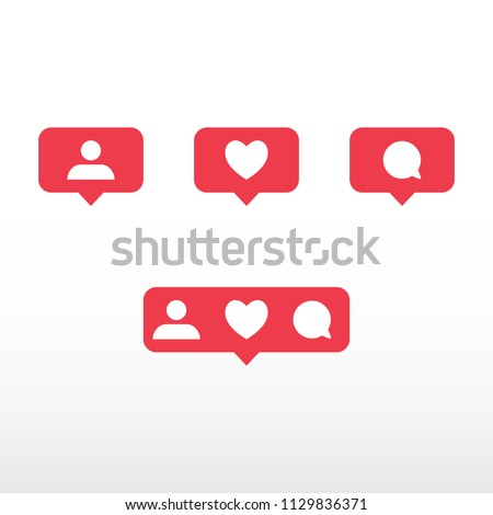Symbols for social network. Notification icons social media notification. Template heart, comment, request in friend. Vector illustration.