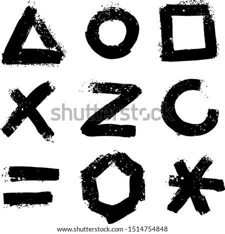 Symbols hand drawn paint brush illustrations set. Geometric figures, alphabet letters and math marks. Triangle, circle and rectangle. Equality and snowflake grunge signs isolated on white background Stock photo ©