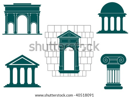 Symbols of ancient buildings for design and decorate - abstract emblem. Jpeg version also available in gallery