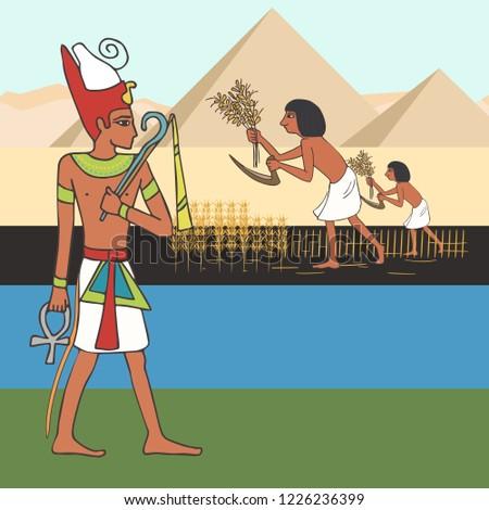symbols of ancient egyptian civilization , vector cartoon illustration of history origins