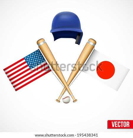 Symbols of Baseball team United States and Japan. Flags on bats. Vector Illustration.