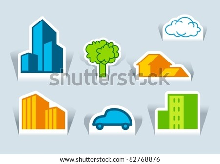 Symbols of buildings, tree and the car